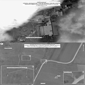 These slides released by the Russian Federation purport to show a Buk missile launcher absent from a Ukrainian military base (left), and a pair of Buk missile launchers in a field on the day of the shootdown (right).